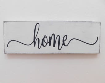 Home Sign, Home Wood Sign, Distressed Home Wood Sign, Farmhouse, Shabby Chic, Cottage Decor, French Country, Rustic, Gallery Wall Decor