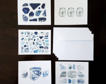 Beach Sea Pottery A6 Blank Notecards 5 Pack Greeting Sympathy Thank you Anniversary Gift Colored Pencil Art Cards by Headspace Illustrations