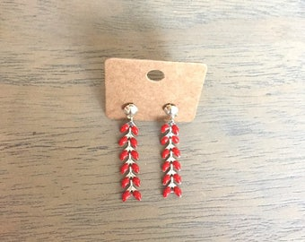 Red and silver stars earrings