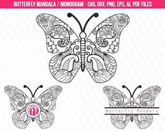 Butterfly mandala svg, butterfly mandala monogram frame, Butterfly clipart, Butterfly mandala svg cutting files- Svg, Dxf, Ai, Png, Pdf, Eps