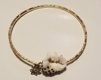 12 Gauge Gold-Filled Bangle with Drupe Shell and Gold Lotus Charm
