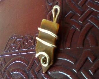 Stone Copper Wire Wrapped Pendant