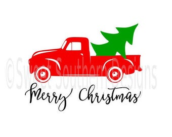 Vintage truck with Christmas tree SVG DXF PDF instant download design for cricut or silhouette