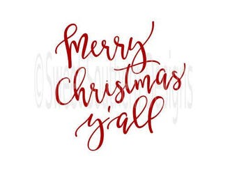 Merry Christmas y'all design SVG DXF PDF instant download design for cricut or silhouette