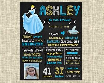 Cinderella Birthday Chalkboard Poster - Disney Princess Cinderella Wall Art design - Birthday Party Poster Sign - Any Age