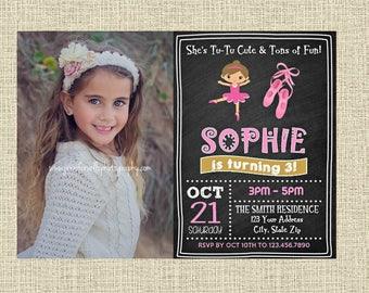 Ballet Chalkboard Birthday Invitation - Ballerina Birthday Party Invitation - Birthday Party Invite - Digital Personalized Customized