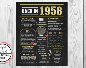 60 years ago Back in 1958 Chalkboard Style Poster, 60th Birthday Poster Sign, Printable, Instant Download, 1958 Facts, Anniversary Gift gold