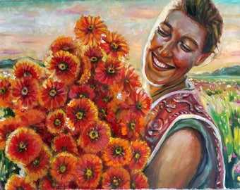 Original Oil Painting, Woman and Flower, 70x50cm, 180109