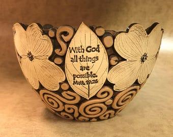 Large Scripture Dogwood Bowl 54