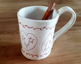Handmade ceramic white mug / / white ceramic mug / / coffee cup / / tea cup / / gift for MOM.