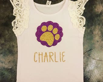 Little Girl's LSU lace sleeve glitter tank top. Personalized purple and gold sparkle tank top for babies, toddler and girls.