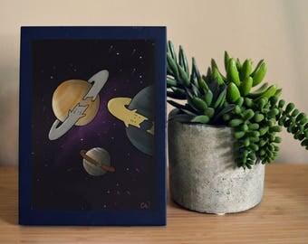 Saturn Cats Art Print