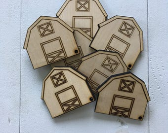 Barn, Minis with hole for keychain or ornament, laser cut, laser engraved