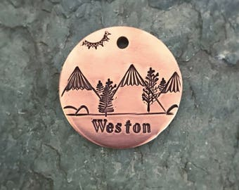 Dog Tags, Weston's Mountain Range, Mountain Dog Tag, Trees, Hand Stamped Dog Tag, Personalized Dog Tag, Pet Id Tag, Custom Dog Tags