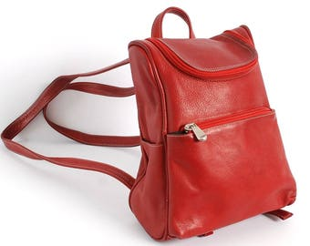 Le Donne RED Leather MINI BACKPACK