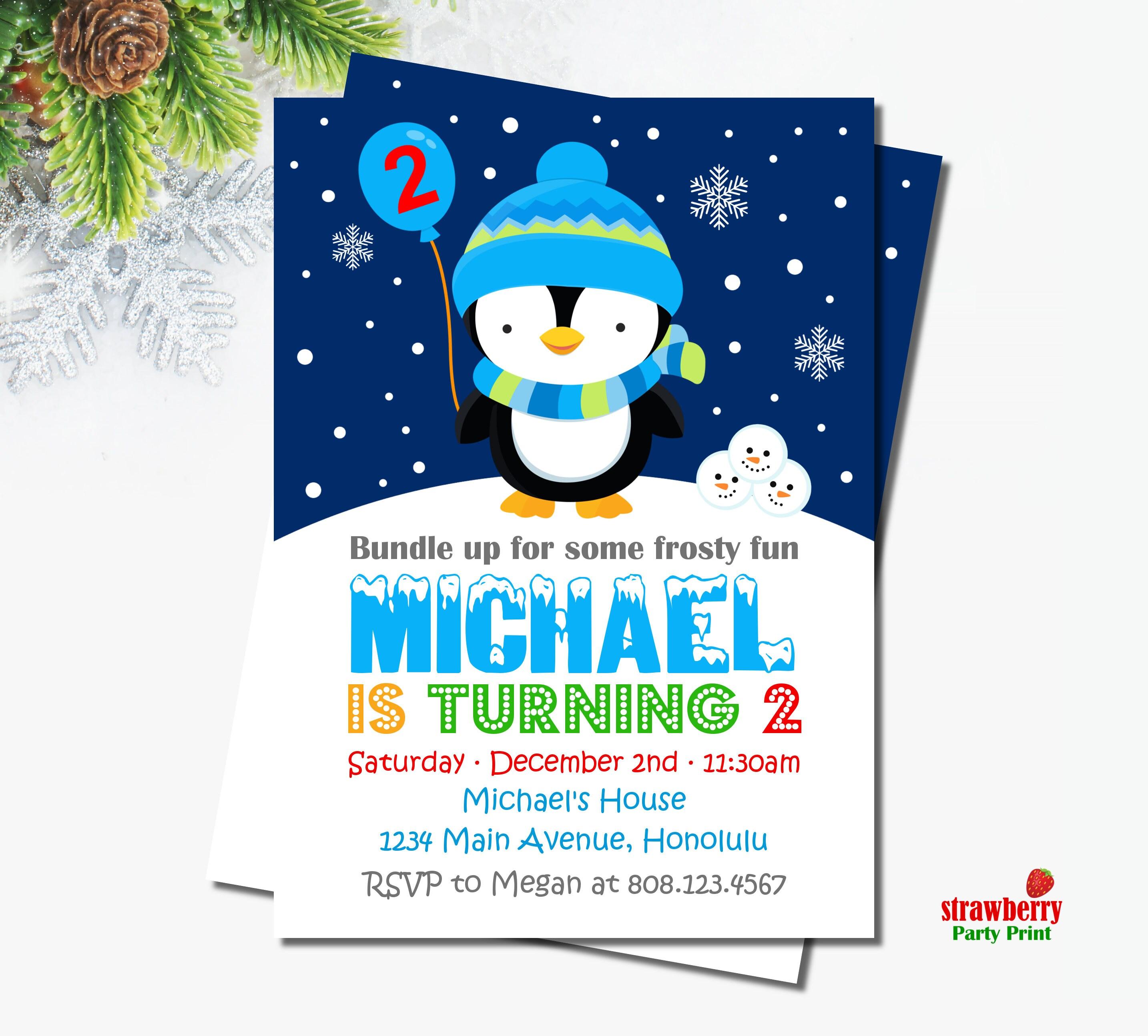 Penguin Birthday Invitation Boy Winter Birthday Invitation Winter