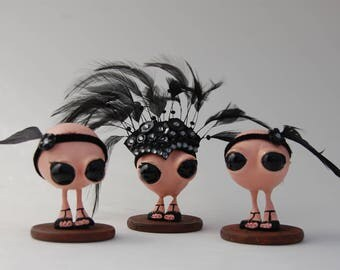 20's Burlesque Show Girls Figurines, OOAK Art Toys, Polymer Clay Figurines