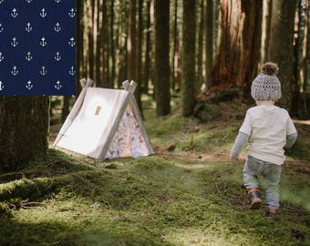 Play A-Frame Tent Teepee Blue White Anchors Rustic Distressed