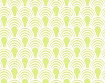 By The HALF Yard - Bridgette Lane by Valori Wells for Free Spirit, Pattern #PWVW064-LIME Lime Waves, Green Scallops on White