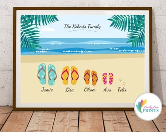 Personalised Family Name Print on the Beach, Personalised Family Print, Family Holiday Print, Personalised Flip Flops Print, Shoes Print