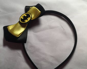 Satin Batman hair bow / headband / clip