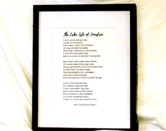 William Butler Yeats Poem The Lake Isle of Innisfree Wall Art I Will Arise And Go Now And Go To Innisfree Instant Download