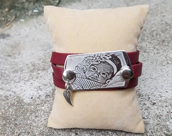 Bracelet 3 Burgundy rounds with engraving plate