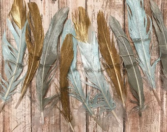 GOLD + TURQUOISE + SILVER .. Feather Garland, Feather Strand, Wall Hanging, Backdrop, Boho, Gypsy, Gold Feathers
