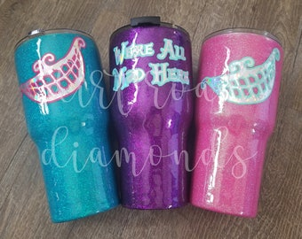 Glitter Tumbler | Alice in Wonderland | Mad Hatter | We're All Mad Here | Tumbler | Ozark | Glitter Cup