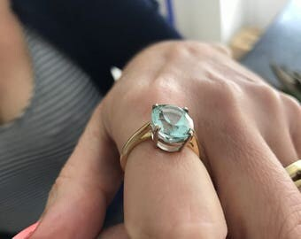 18ct White/yellow Gold - Unique Brazilian Aquamarine Ring