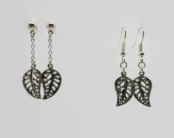 Earrings leaf lace - silver - 4.5 cm
