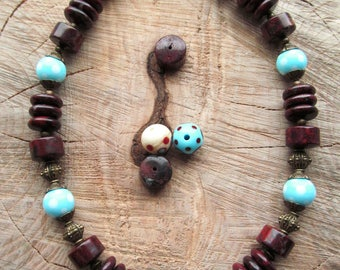 Red Jasper Necklace-Gift For Wife-Gemstone Jewelry-Jasper jewelry-Jasper Gemstone-Glass beads-