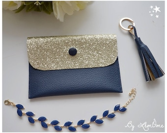 Blue Gold leatherette Navy clutch