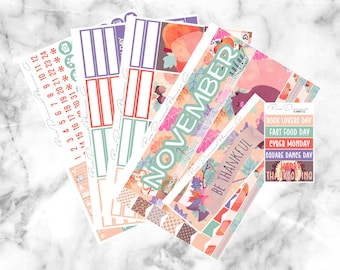November Monthly Spread Kit - Give Thanks (150+ Planner Stickers)