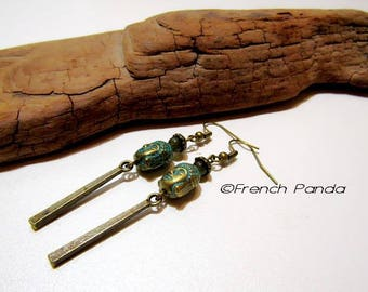 Pair of earrings Bohemian bronze and green/blue.