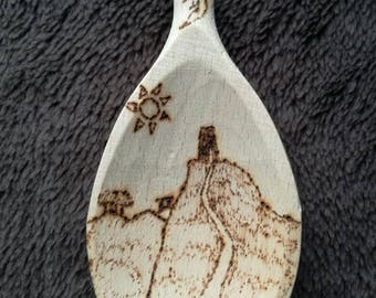 decorative wooden spoon inspired by Glastonbury Tor