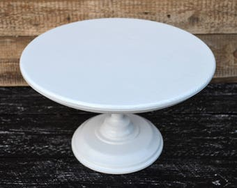 "14"" Wedding Cake Stand, Wooden Cake Stand, Topper, Cake stands, White cake stands for weddings"