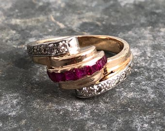Art Deco 14k gold diamond and ruby ring