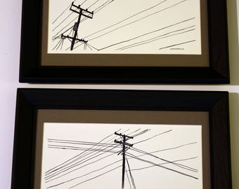 Artist Original Watercolor 11x5 Powerlines with frames