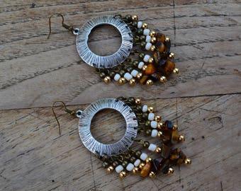 Ethnic earrings Tiger eye