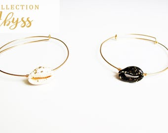 Adjustable Bangle Abyss white / black