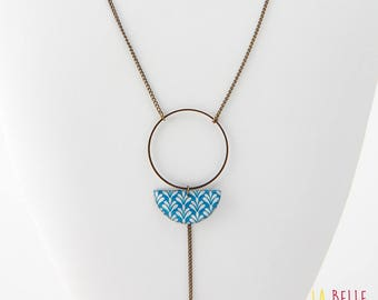 Necklace long pendant half resin Moon blue art deco pattern