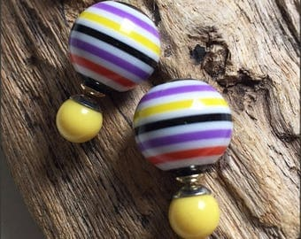 Beautiful multicolor stripes double sided earrings (front and back French style tribal chic studs)