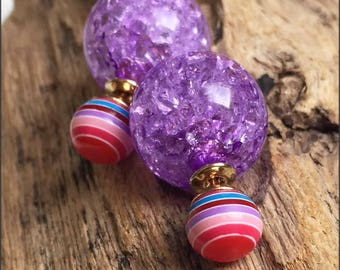 Beautiful purple and multicolor stripes double sided earrings (front and back French style tribal chic studs)