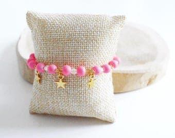 "Bracelet ""Perle Rose & Gold Star"""