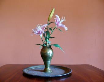 Hammered Solid Brass Urn Vase, Etched Brass Vase, Photo Prop, Rustic Patina Boho Brass Shelf Decor