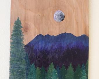 Moonlit Mountain Painting