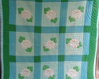 Vintage Hand Stitched Applique Quilt Handmade Cotton Quilt, Floral Quilt Throw Blanket Farmhouse Quilt, Cottage Bed Blanket, Country Decor