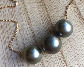 Large Round Triple Tahitian Pearl Necklace