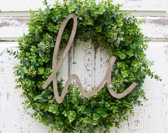 Boxwood and Berries Wreath, Hello Wreath, Year Round Wreath, Spring Wreath, Summer Wreath, Door Wreath, Natural Wreath